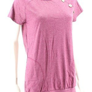 Wine Short Sleeve Tunic Top with Pockets